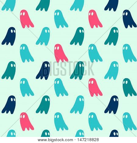 Vector hand drawn cartoon seamless ghost pattern. Horror theme. Colored ghost pattern for paper textile polygraphy game web design