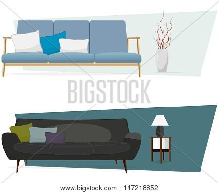 Furniture. Interior. Set of sofas with pillows and lamp.