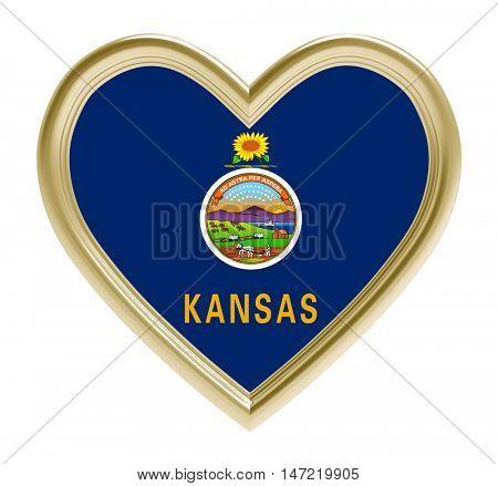 Kansas flag in golden heart isolated on white background. 3D illustration.