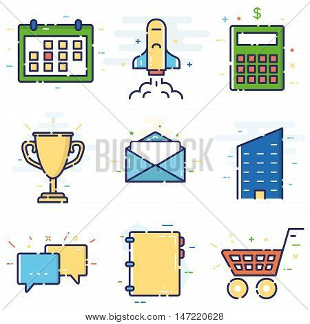 Vector modern stylish flat linear icons set of basic office marketing items business management social media for web and app design and development - part 5