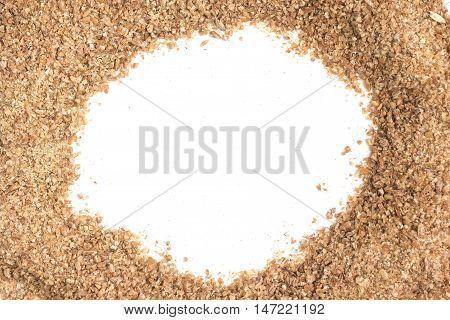 Ground Wheat Frame isolated in white background. Trigo para quibe. Kibbeh