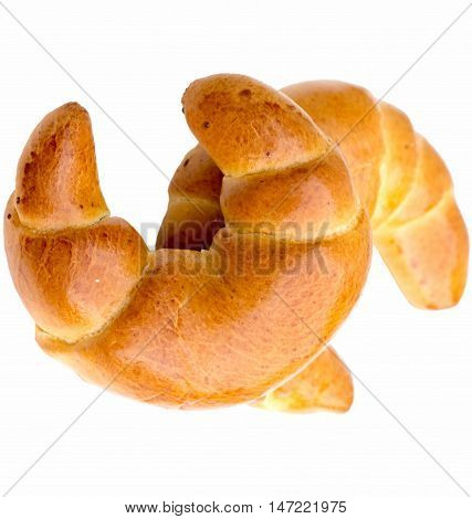 Fresh butter croissant, isolated on white background.
