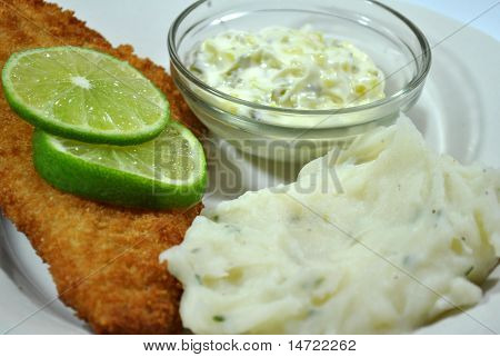 Fish Dinner with Lime and Mashed Potatoes