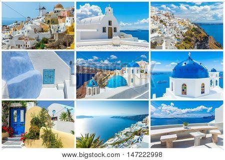 Landscape Santorini island, collage pictures, holiady  Greece