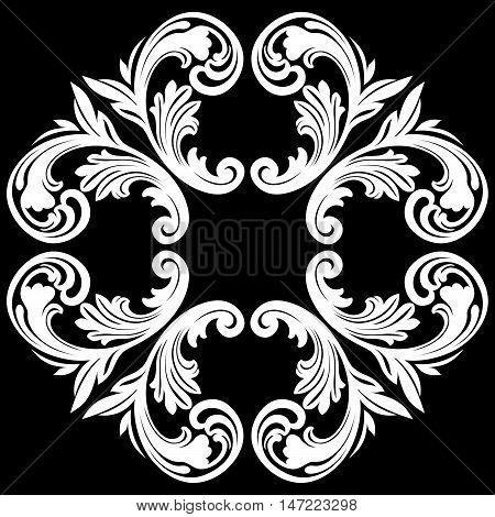 Damask ornament, floral ornament, deco ornament, vine ornament, graphic ornament, scroll ornament, decor ornament, swirl ornament, refined ornament. Vector.