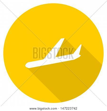 arrivals flat design yellow round web icon