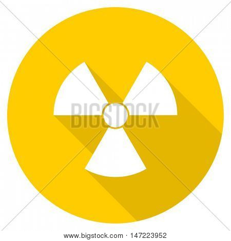 radiation flat design yellow round web icon