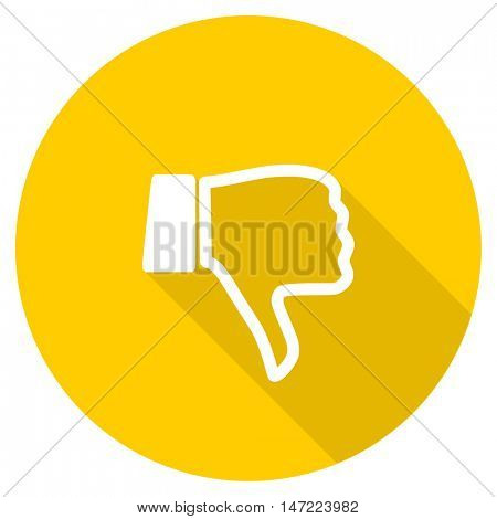 dislike flat design yellow round web icon