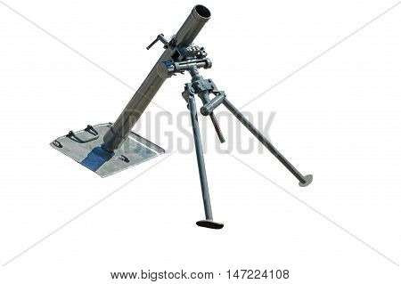 the old German mortar on white background