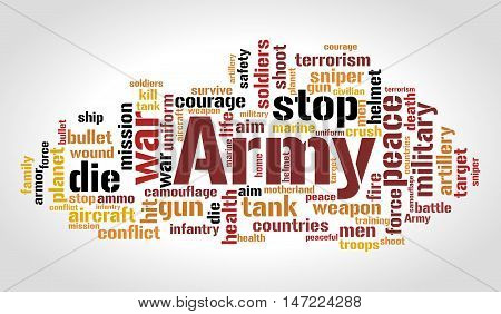Army word cloud. Millitary concept. Vector illustration.