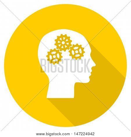 head flat design yellow round web icon