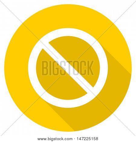 access denied flat design yellow round web icon