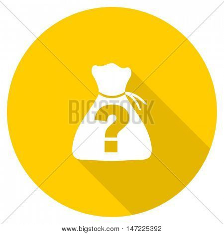 riddle flat design yellow round web icon