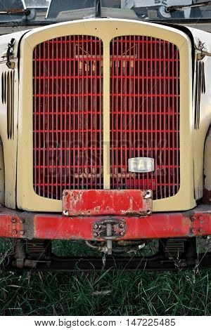 ZABLJAK, MONTENEGRO - JULY 31, 2016: grill old truck FAP (Fabrika Automobila Priboj) a Serbian automotive manufacturer of trucks and buses founded in 1952