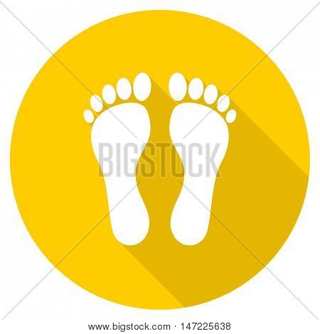 foot flat design yellow round web icon