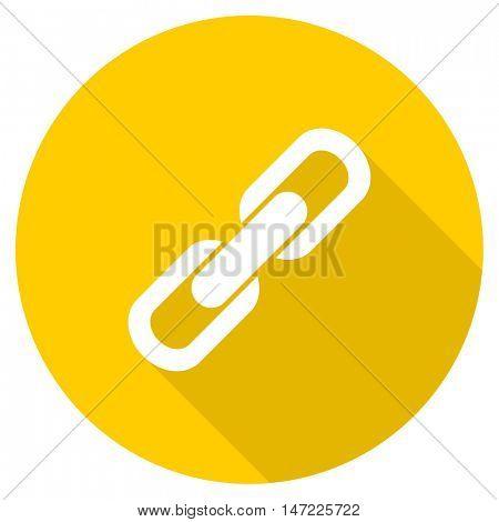 link flat design yellow round web icon