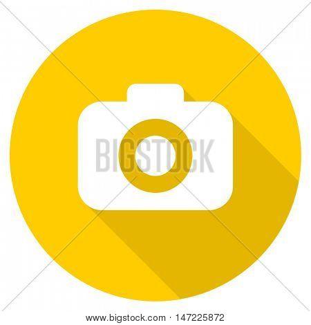 photo camera flat design yellow round web icon