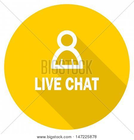 live chat flat design yellow round web icon