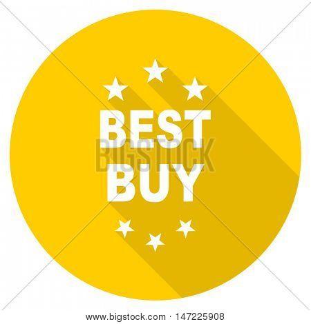 best buy flat design yellow round web icon