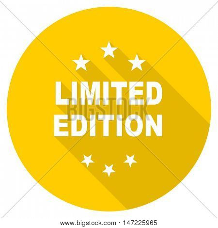 limited edition flat design yellow round web icon