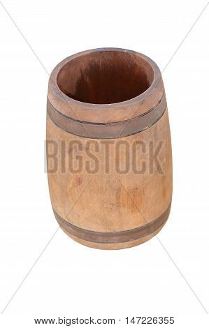 wooden beer mug on a white background