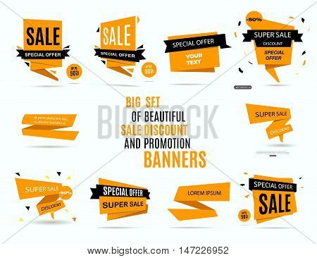 Sale banners. Big set of beautiful yellow sale discount and promotion banners. Vector illustration eps 10
