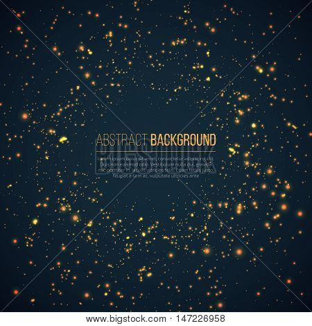 Abstract geometric technology background with glowing sparkles space explosion. Yellow circle particles glitter light effects. Vector illustration