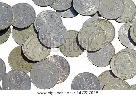 the old USSR coins on white background