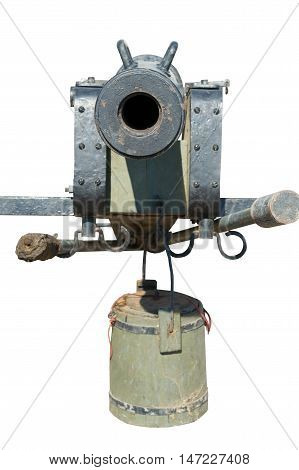 part of Old cannon isolated on white