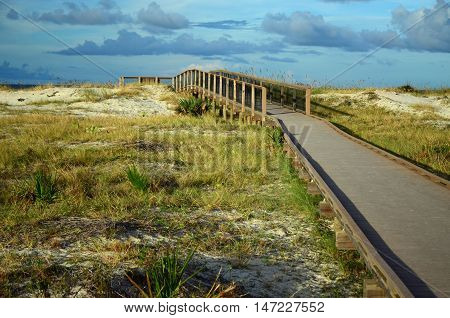 Boardwalk leading to the Atlantic Ocean at Fort Clinch State Park in Fernandina Beach, FL