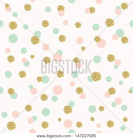 Glitter confetti polka dot seamless pattern background pattern. Golden, pink and blue trendy colors. For birthday and scrapbook design.