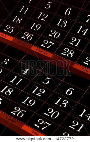 dark red calendar