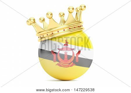 Crown with flag of Brunei 3D rendering