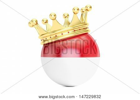 Crown with flag Principality of Monaco 3D rendering
