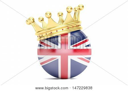 Crown with flag of United Kingdom of Great Britain 3D rendering