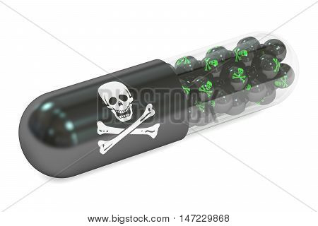 poison capsule 3D rendering isolated on white background