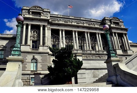 Washington DC - April 9 2014: The west front of the beaux arts Jefferson Building of the Library of Congress on First Street *