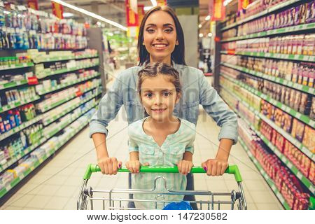 Mom And Daughter In The Supermarket