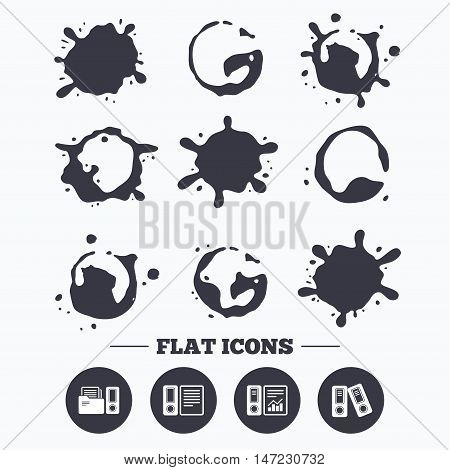 Paint, coffee or milk splash blots. Accounting report icons. Document storage in folders sign symbols. Smudges splashes drops. Vector