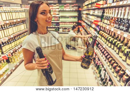 Woman Working In The Supermarket