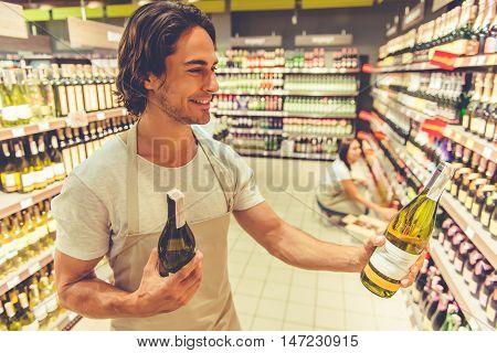 Man Working In The Supermarket