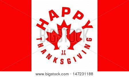 Happy Thanksgiving Day Vector Icon On Canadian Flag For Web And Print