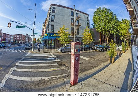 Typical Street Scene With Emergency Call Phone In Early Morning In New York, Brooklyn