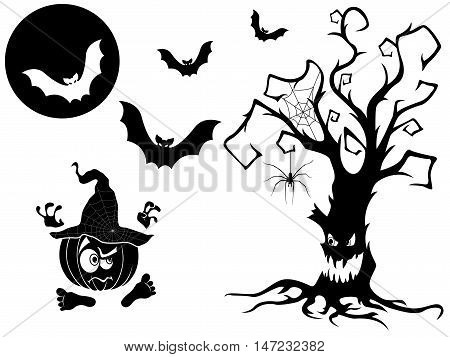 Set Of Different Halloween Vector Silhouettes