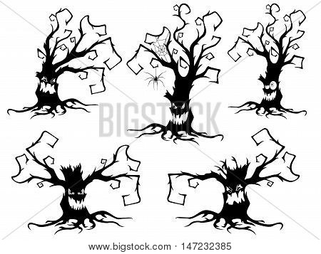 Set Of Five Halloween Old Dried Trees