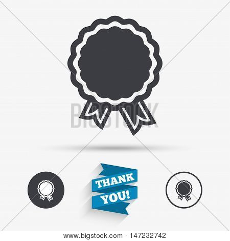 Award icon. Best guarantee symbol. Winner achievement sign. Flat icons. Buttons with icons. Thank you ribbon. Vector