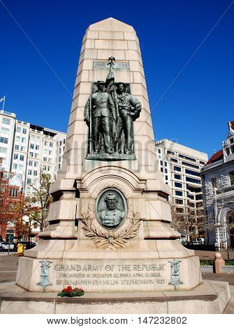 Washington DC - November 17 2012: The Grand Army of the Republic Memorial on Pennsylvania Avenue commemorates the 1861-65 Civil War