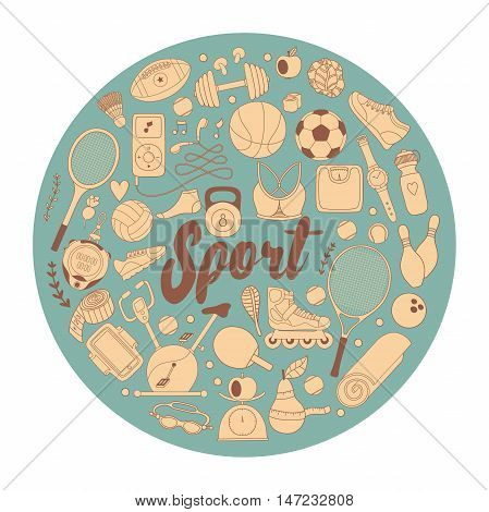 Vector hand drawn illustration set of fitness and sport elements in doodle style. Healthy lifestyle background made of sport icons.