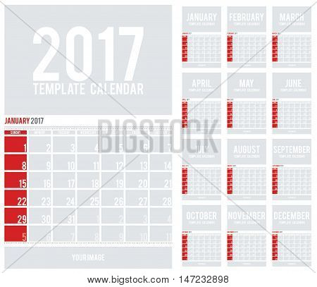 Wall Calendar for 2017. Calendar template with space for photos. Week Starts Sunday. Set of 12 Months.