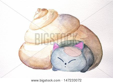 Cat in the shell watercolor illustration. Cute kitten nursery illustration with sea shell. Shell house for lovely kitty. Hand-painted domestic animal. Sweet decorative artwork for children room.